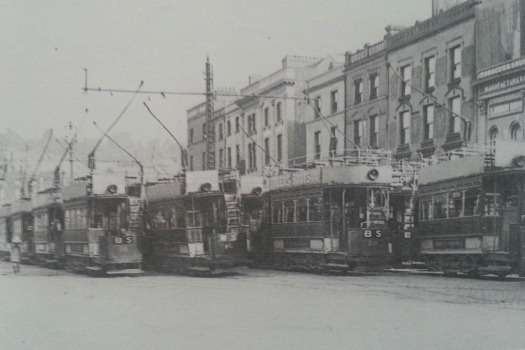Trams on St. Patrick's Street, Cork in the 1930s
