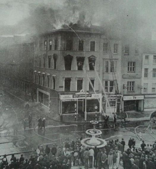 Sean Jennings furniture store on fire, Grand Parade 1970