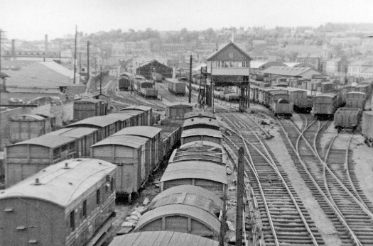 View northward, towards the ex-Cork, Bandon & South Coast terminus. The line closed to passengers on 1/4/61, but goods traffic continued until 1976.