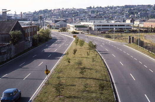 After closure of the Cork City railway in 1976, the site of Albert Quay yard was quickly cleared, with a new road constructed on part of the former railway right-of-way. In more recent years, the area to the right has been developed as office accommodation, although this is believed to be only partly let.